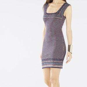 BCBG Sheina Jaquard Square-Neck Dress
